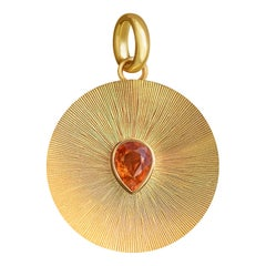 2 Carat Spessartine Garnet 14 Karat Yellow Gold Pendant with Carving