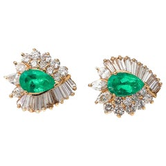 2 Carat Total Columbian Emerald and 1.5 Carat Total Diamond Earrings
