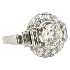 2 Carat Transitional Cut Diamond Cluster Platinum French Art Deco Ring