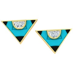2 Carat Turquoise Onyx and Diamond Triangle Earrings