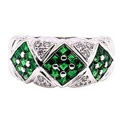 2.00 Carat Verdant Tsavorite and Diamond Ring