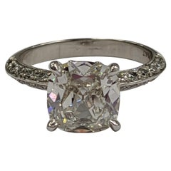 2 Carat Vintage Cushion Cut Diamond Ring GIA J SI1 in Platinum