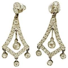 2 Carat White Diamond Dangle Earrings in Platinum