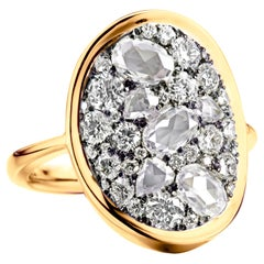 2 Carat White GHVS Rose-Cut and DEGVVS Brilliant-Cut Diamond Pave Ring
