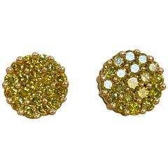 2 Carat Yellow Diamond Floral Cluster Flower Stud Earrings 14 Karat White Gold