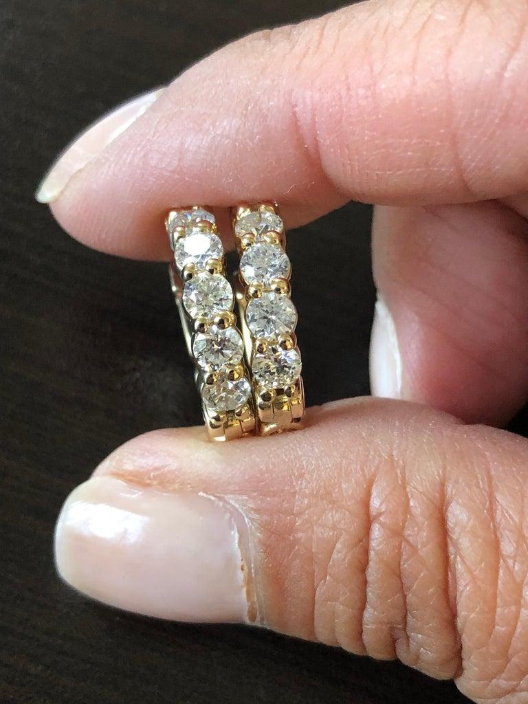 Round Cut 2 Carat Yellow Diamond Huggies Hoops 14 Karat For Sale