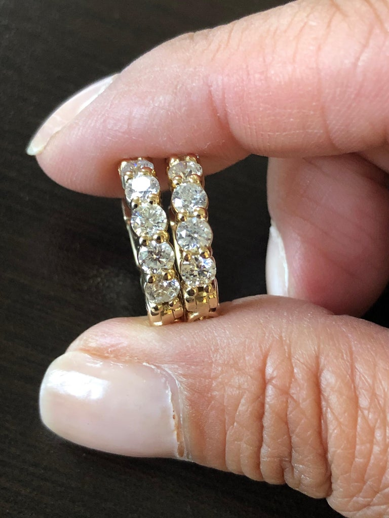 2 Carat Yellow Diamond Huggies Hoops 14 Karat In New Condition For Sale In Great Neck, NY