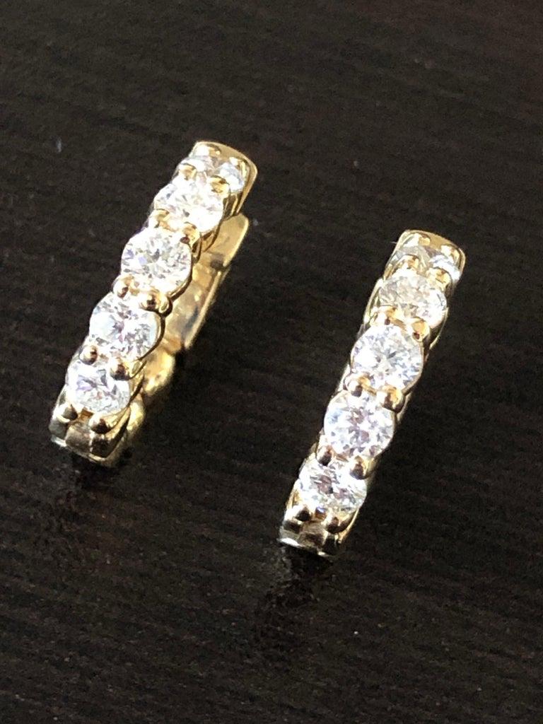 Women's 2 Carat Yellow Diamond Huggies Hoops 14 Karat For Sale