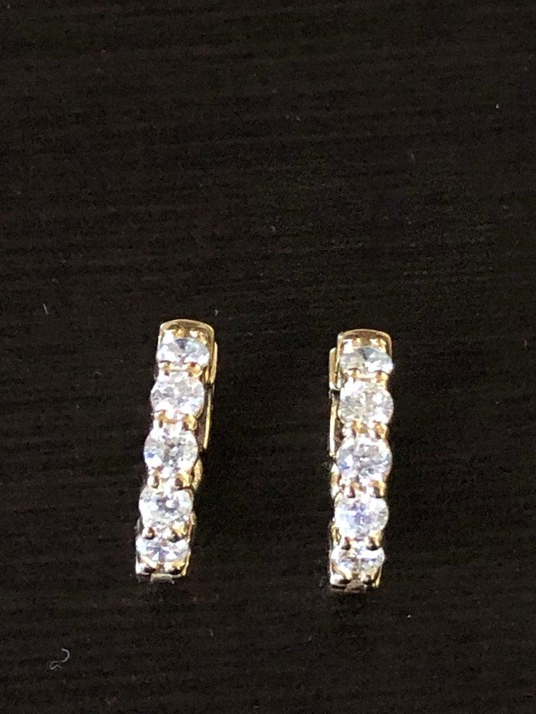 2 Carat Yellow Diamond Huggies Hoops 14 Karat For Sale 1