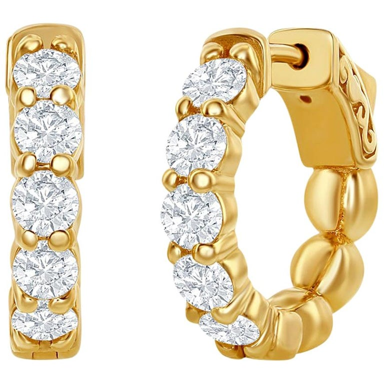 2 Carat Yellow Diamond Huggies Hoops 14 Karat For Sale