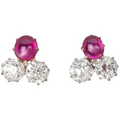 2 Carat Diamonds and 1.20 Carat Rubies French Earrings