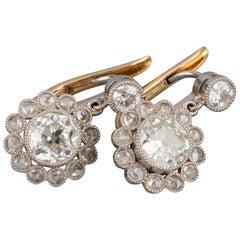2 Carat Diamonds Antique Belle Époque Earrings