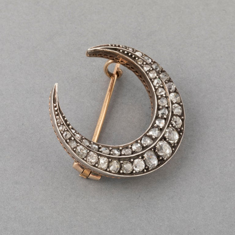 Old European Cut 2 Carat Diamonds Antique French Crescent Brooch For Sale