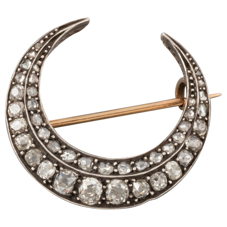 2 Carat Diamonds Antique French Crescent Brooch For Sale