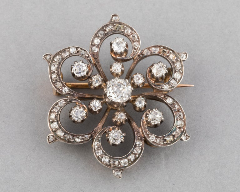 Victorian 2 Carat Diamonds French Antique Brooch For Sale