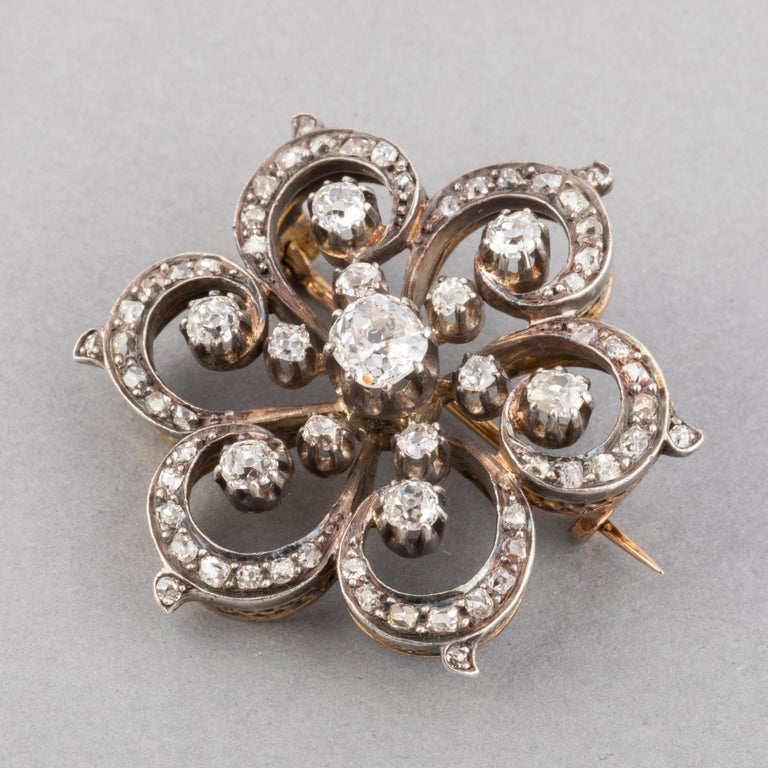 Old European Cut 2 Carat Diamonds French Antique Brooch For Sale