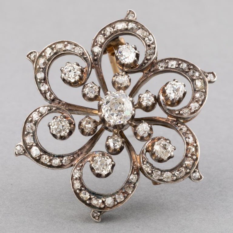 Women's or Men's 2 Carat Diamonds French Antique Brooch For Sale