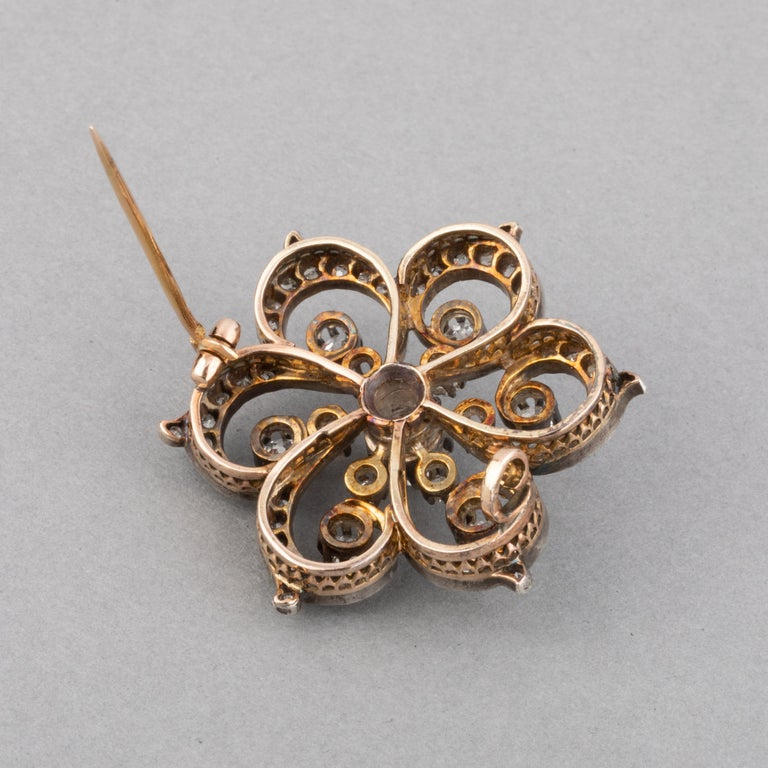 2 Carat Diamonds French Antique Brooch For Sale 2