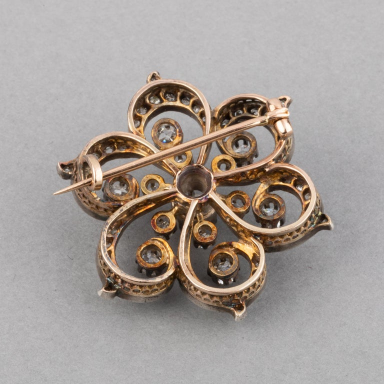 2 Carat Diamonds French Antique Brooch For Sale 3