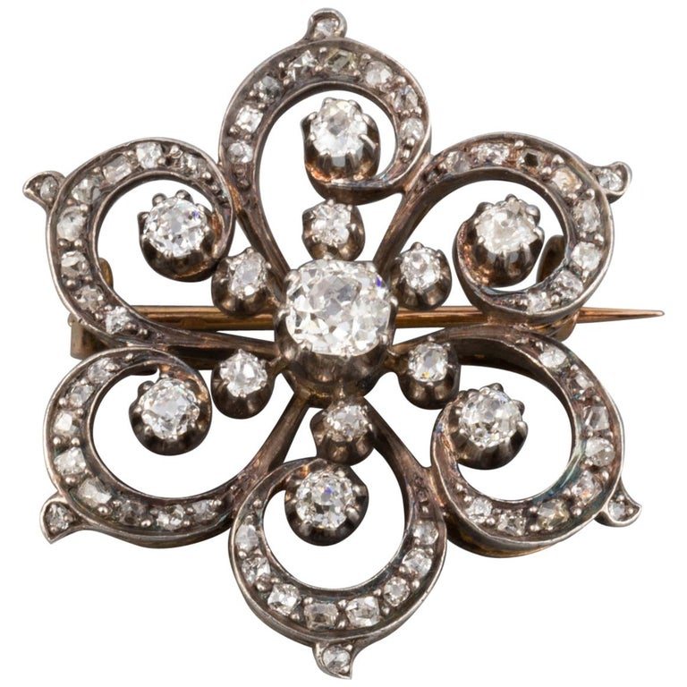 2 Carat Diamonds French Antique Brooch For Sale