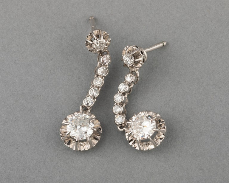 Old European Cut 2 Carat Diamonds French Art Deco Earrings For Sale