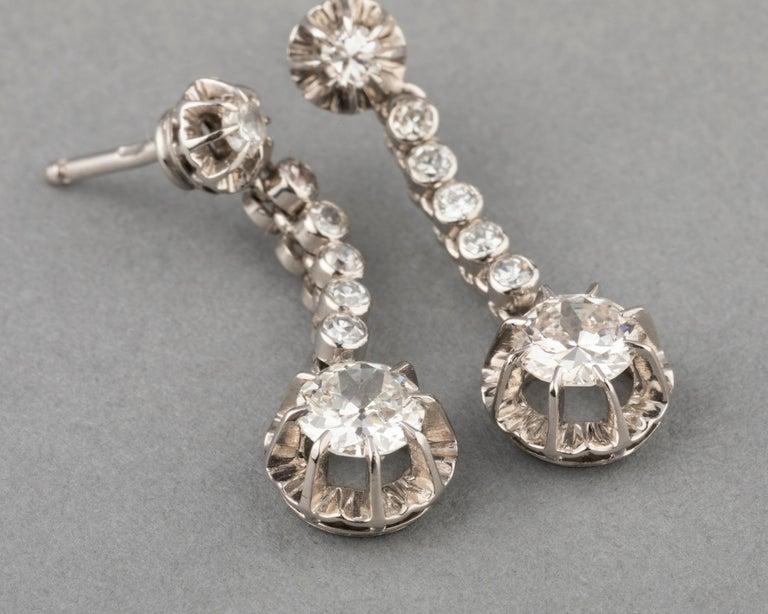 Women's 2 Carat Diamonds French Art Deco Earrings For Sale