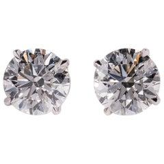 2 Carat Each GIA GSI2 Diamond Studs