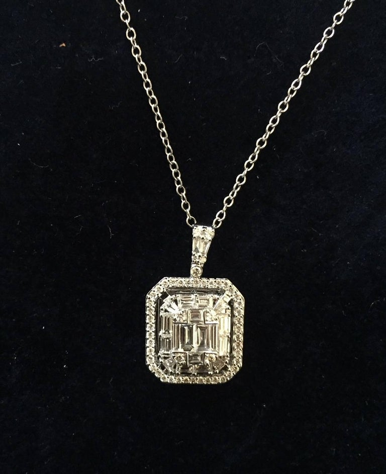 Modern 2 Carat Emerald Cut Diamond Pendant For Sale
