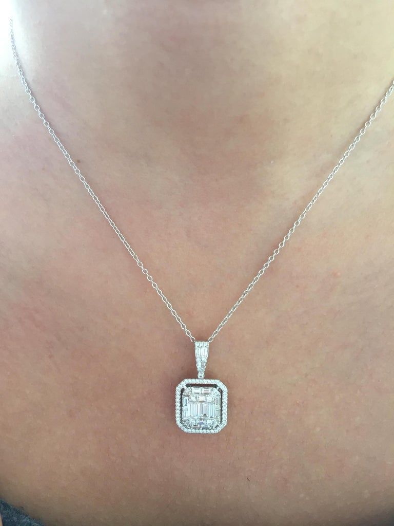 Baguette Cut 2 Carat Emerald Cut Diamond Pendant For Sale