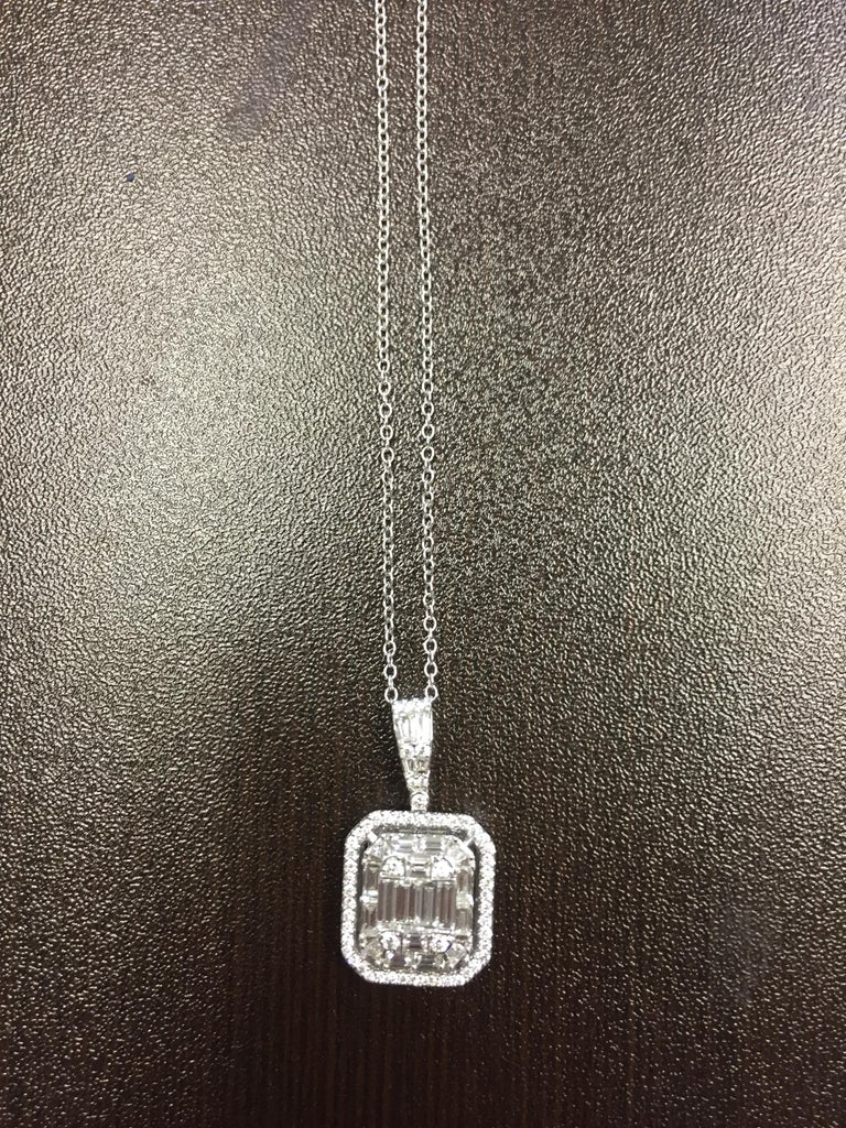 Women's 2 Carat Emerald Cut Diamond Pendant For Sale