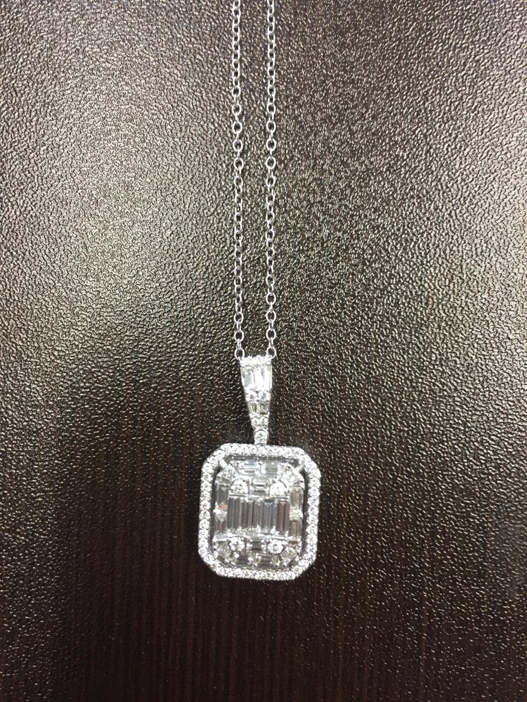 2 Carat Emerald Cut Diamond Pendant For Sale 1