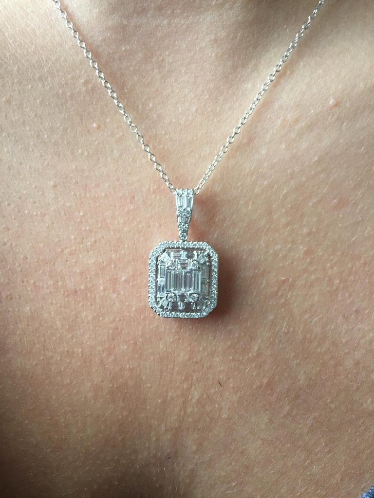 2 Carat Emerald Cut Diamond Pendant For Sale 2