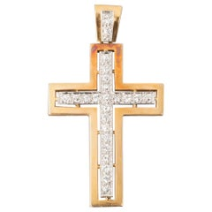 2 Carat Gold and Diamonds French Antique Cross