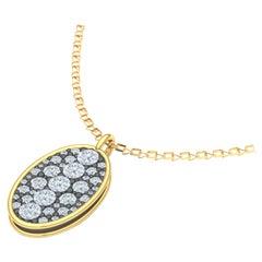 2 Carat Round and Oval Diamond Pendant Yellow Gold