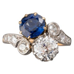 2 Carat Sapphire and 1.50 Carat Diamond French Belle Époque Ring