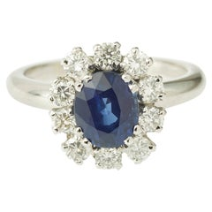 2 Carat Sapphire Diamond Pompadour 18 Karat White Gold Engagement Cluster Ring