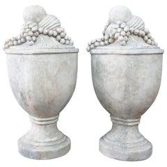2 Cast Italian Fruit Cluster Trophy Mantel Urns Grapes, Pair