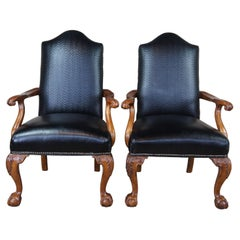 2 Century Chippendale Black Leather Nailhead Library Arm Chairs Ball & Claw