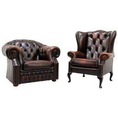 2 Chesterfield Armchair Armchair Wing Chair Antique Chair