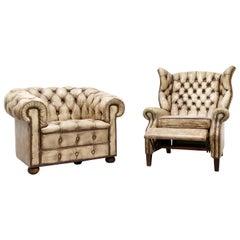 Zwei Chesterfield Sessel, Antiker Sessel, Ohrensessel