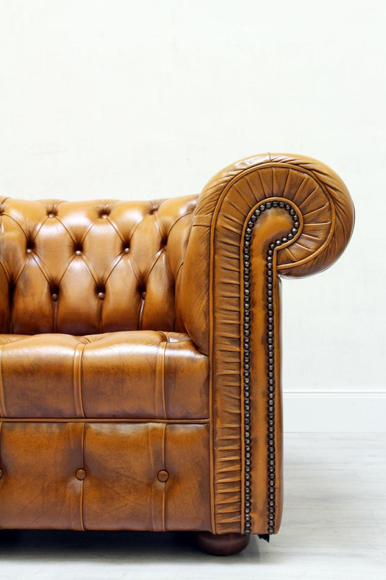 2 Chesterfield Leather Armchair Antique Vintage English ...