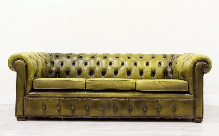 2 Chesterfield Sofa Leather Antique Vintage Couch English ...
