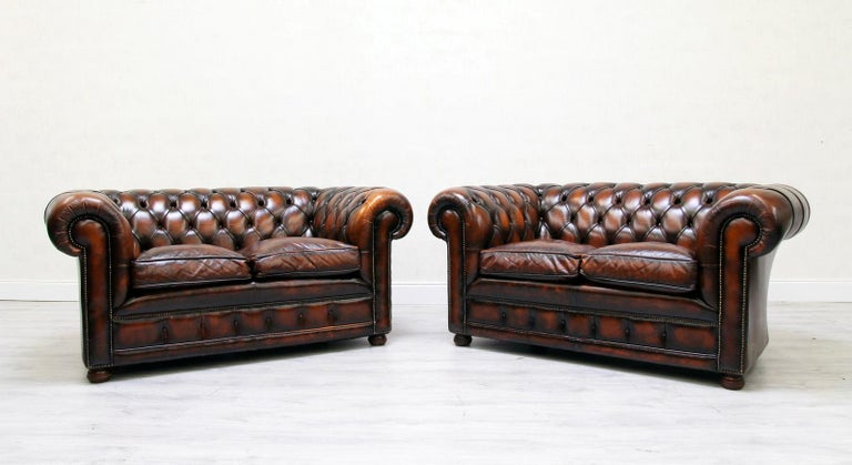 2 Chesterfield real leather twin sofa extra large in original design Condition: The set is