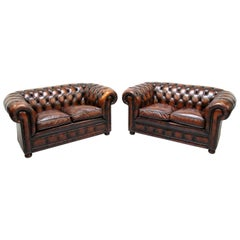 2 Chesterfield Sofa Leder Antik Vintage Couch Englisch Chippendale