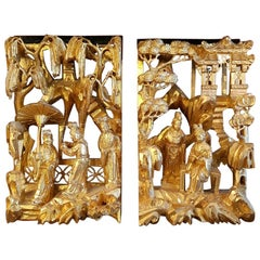 2 Chinese Gilded Wood Panels Depicting Persons and Temples