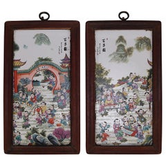 2 Chinese Hand Painted Pictorial Porcelain Tiles, Village Scenes, Signed