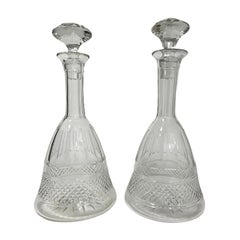 2 Crystal ship decanters in bell shape