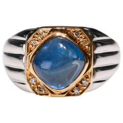 2 Ct Blue Sapphire 0.08 Ct Diamond 18 Kt White Gold Cocktail Cabochon Ring