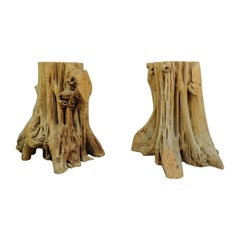 2 Cypress Tree Root Trunk Driftwood Dining Table Desk Double Pedestal Bases