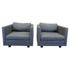 2 David Edward Mid-Century Modern Grey Cube Wool Club Arm Lounge Chairs Pair